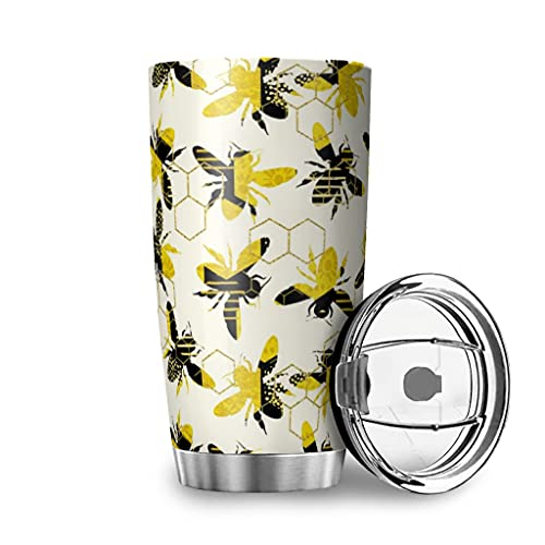 Zbbfwu Taza de café para llevar con diseño de abeja, de acero inoxidable, a prueba de fugas, color blanco, 600 ml