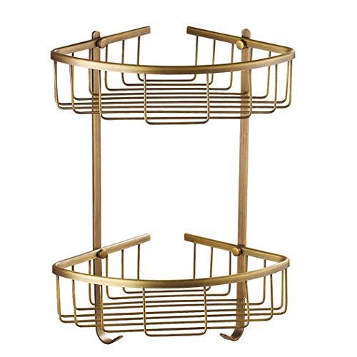 Bathroom Storage Rack ,All-Copper Bathroom Corner Basket Rack, European-Style Bathroom Wall-Mounted Double-Layer Rack doublelayer