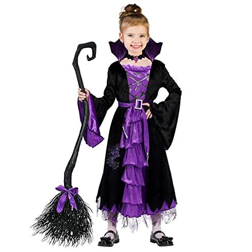 ThinkMax Wicked Witch Damen Halloween Kostüm Sexy Zauberer Klassische Märchen Kleid, violett/schwarz, 5 - 7 Jahre