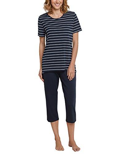 Schiesser Damen kurzer Schlafanzug mit 3/4 langer Schlafhose, Blau (Gestreift Nachtblau 804), 48 (Herstellergröße: 048)