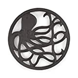 gasaré, Cast Iron Trivet, Metal Trivet, Decorative Octopus, for Hot Dishes, Pots, Kitchen, Countertop, Dining Table, with Rubber Feet Caps, Solid Cast Iron, 8 Inch Large, Rustic Brown Finish
