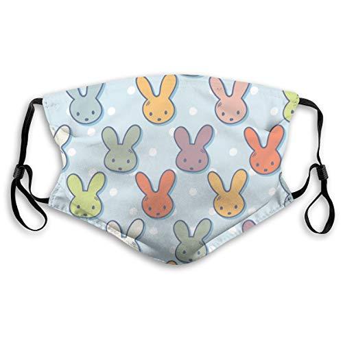 Niedliche Kaninchen Maulkörbe Polka Dots Easter Spring Childish Cartoon Style,Staubdichter, waschbarer und wiederverwendbarer Filter mit Filter