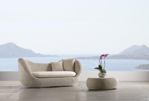 Rosa Splendiani Canapé de Jardin MOVIDA Haute Qualité en Polyrotin Blanc et Aluminium avec Coussins