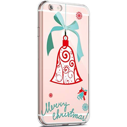 Surakey - Carcasa para iPhone 6/6S, diseño de Navidad navideño, transparente, flexible, protección antigolpes, funda transparente de gel TPU ultrafina