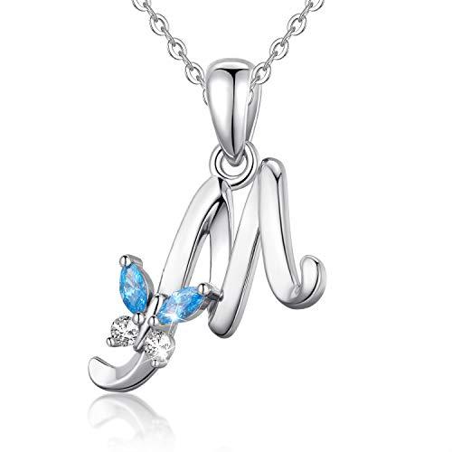 EUDORA Collana a farfalla iniziale in argento sterling 925 con lettera dellalfabeto Collane con ciondolo personalizzato con zirconi blu per donna, ragazza, madre, gioielli, catena da 45 cm