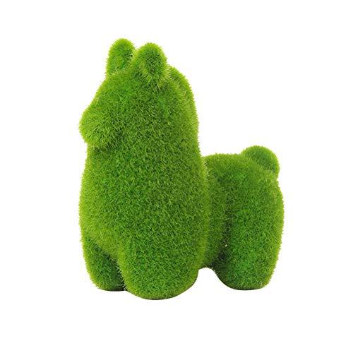 LIOOBO Decoración de Musgo Artificial con Forma de Alpaca Jardín Hierba Verde Decoración de Plantas Plantas Falsas