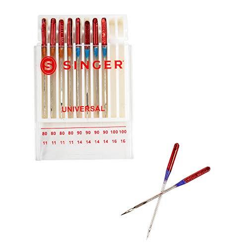 SINGER Universal Regular Point Machine Needles, 20 Count, Sizes 80/11, 90/14, 100/16