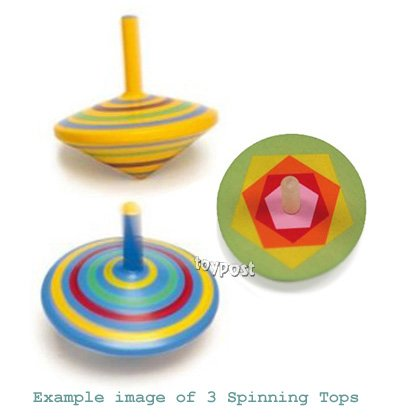 Spinning Tops - Set of 3 various designs wooden Mini Spinners ...