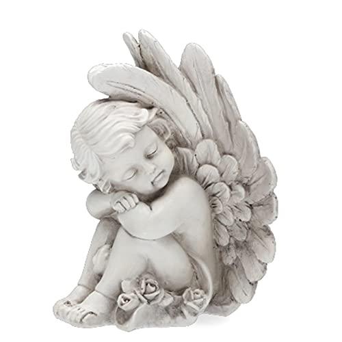Trauer-Shop Sitzende Engel Figur verschlossene Augen. Höhe 20cm. 1 Stück