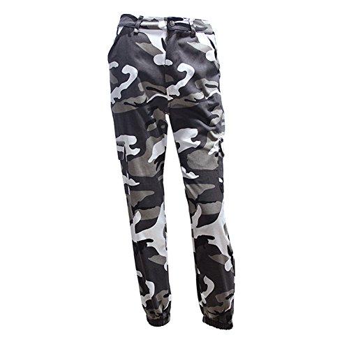 hibote Mujeres Hombres Moda Casual Camo Camuflaje Pantalones de Carga Militar Mujer Pantalones Sueltos Pantalones de Chándal