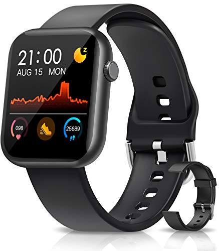 NAIXUES Montre Connectée, Smartwatch Femmes Hommes à Ecran Tactile Complet, Montre Intelligente Jeux Suivi du Sommeil Montre Sport Calories Podometre Tensiomètre Bracelet Bluetooth pour Android Iphone
