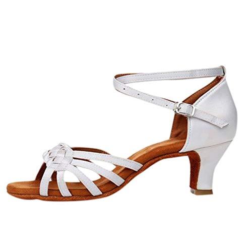 Zapatos de Baile Latino de Tacón Alto/Medio para Mujer Tejer Hebilla Romanas Zapatos Vestir de Fiesta Fondo Suave y Comodo Casuales Calzado de Danza riou