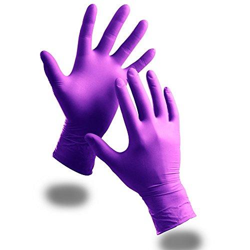 100 guantes desechables de nitrilo, extrafuertes, antipolvo, color púrpura y bolígrafo de tecnología antibacterias, morado
