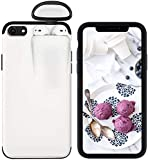 2-in-1 Phone Case for iPhone 8 Plus Case and for AirPods - White Liquid Silicone Rubber Gel Case Slim Fit Hard Protective Shockproof Cover with Wireless Headset Set Protection