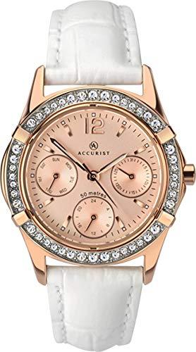 Accurist Damen Analog Quarz Uhr mit Leder Armband 8055