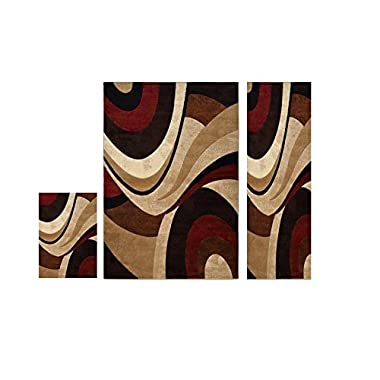 Home Dynamix Tribeca Slade Area Rug | Contemporary Living Room Rug | Bold Abstract Design | Warm-Inviting Feel | Brown, Red 3 Piece Set 5'2 x 7'2, 19.6  x 31.5 , 1'6 x 7'2 Runner