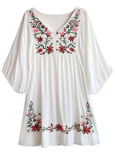 Doballa Damen Boho Tunika Hippie Kleid Gestickt Blumen Mexikanische Bluse, Weiß, L
