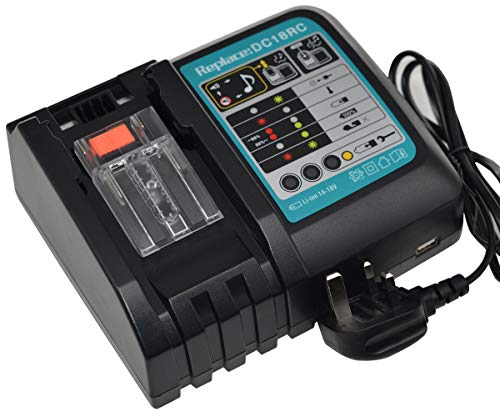 Replacement 14.4V-18V LXT Rapid Power Tools Lithium-Ion Drill Battery Charger for Makita DC18RC DC18RA BL1430 BL1860 BL1860B BL1815 BL1820 BL1825 BL1830 BL1830B BL1840 UK Plug