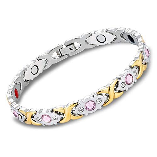 KoelrMsd Pulsera de Terapia magnética de Acero Inoxidable de Titanio para Mujer con Pulsera de Terapia magnética de Oro con Diamantes de imitación, Regalo para el Cuidado de la Salud