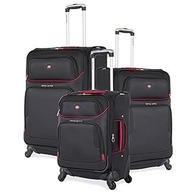 SwissGear 3 Piece Expandable Spinner Wheel Black Suitcase Set - Softshell & Lightweight