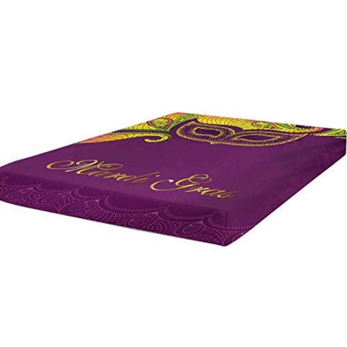 LCGGDB Mardi Gras Fitted Sheet Twin XL Size,Colorful Lace Style Corner Ornaments Calligraphy and Dotted Mask Design Stain Resistant Deep Pocket Bed Sheet,Purple Yellow Green