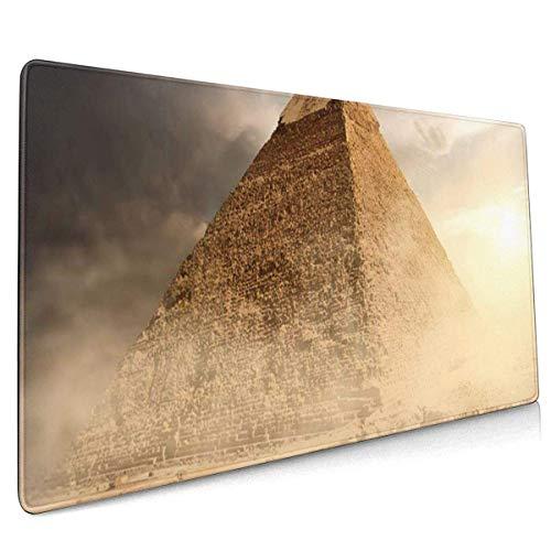 Alfombrilla de ratón multifunción para Juegos, Teclado de computadora Alfombrillas de ratón para Oficina y Juegos - Pirámide de Egipto en Polvo de Arena bajo Nubes Grises Egipcio