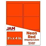 JAM PAPER Etichette Per Spedizione - Etichette Grandi Per Spedizione - 84,5 x 101,6 mm – Rosso Fluo - 120/Pacco
