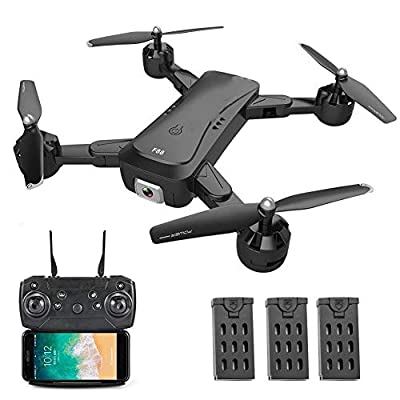 Smart Surveillance Camera F88 RC Drone with Dual Camera 1080P Image Follow Optical Flow Positioning APP Gesture Control Foldable Quadcopter Drone for Adult Security Camera Home Wireless WiFi Camera