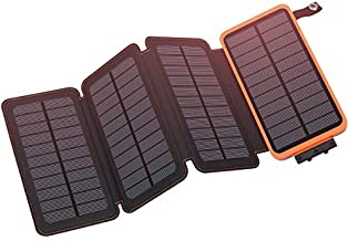 Solar Charger 25000mAh, Hiluckey Outdoor Portable Power Bank with 4 Solar Panels, Fast Charge External Battery Pack with D...