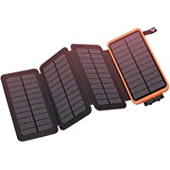 25000mAh High Capacity: Built-in 25000mAh Li-polymer battery, it can charge your phones 8-10 times or tablets 3-4 times for an average of 9 days of usage per charge. 4 Solar Panels: With 4 foldable high-effeciency solar panels, up to 1A input current...