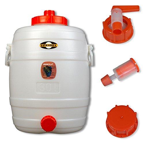 Speidel Most- und Gärfass Kübel Behälter (30 L rund) für Fruchtsäfte Wein Glühwein Cider Wasser Getränke | Lebensmittelecht | inkl. Hahn, Gärspund, Deckel