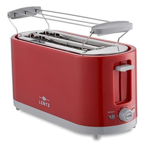 LENTZ 4-Scheiben Toaster 1400 Watt COOL TOUCH Langschlitztoaster mit Brötchenaufsatz Krümelschublade Abbrechen-, Auftau-, Aufwärm-Funktion (rot)