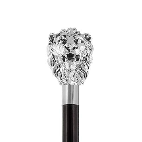 Walking Sticks - Loewe - Eleganter Spazierstock mit Griff Loewe mit Silber bezieht - Gehstock zur Hochzeit oder Feier - Völlig Made in Italy