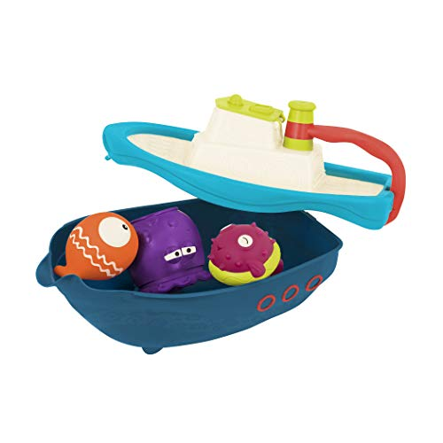 B. Toys by Battat BX1520Z B Hook – Bath and Beach Toy Boat with Squirting Fish and Storage Deck for Toddlers Ages 6 Months and Up