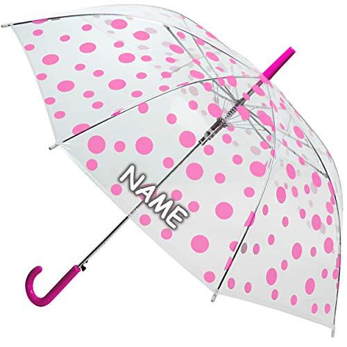 alles-meine.de GmbH Automatik - Regenschirm - rosa / pink - Punkte - inkl. Name - durchsichtig & transparent - Ø 90 cm - Kinderschirm & Erwachsene - sturmfest & sturmsicher - dur..