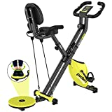 pooboo Foldable Exercise Bikes Magnetic Indoor Cycling Bike 3 in 1 Belt Drive Stationary Bikes with Twister Board and Arm Resistance Bands for Home Cardio Use