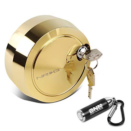 NRG Innovations SRK-201C-GD Universal Free Spining Cover Quick Release Hub Lock w/ 2 Keys + LED Keychain Flashlight