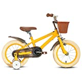 HILAND ins Star Bicicleta infantil de 14 pulgadas para niños de 3 a 6 años con ruedas de entrenamiento, freno de mano, guardabarros amarillo Cuadro de 400mm-500mm