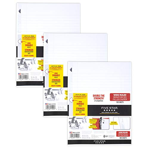 Five Star Loose Leaf Paper, 3 Hole Punched, Reinforced Filler Paper, Wide Ruled, 10-1/2 x 8 inches, 100 Sheets/Pack, 3 Pack (38033) , White