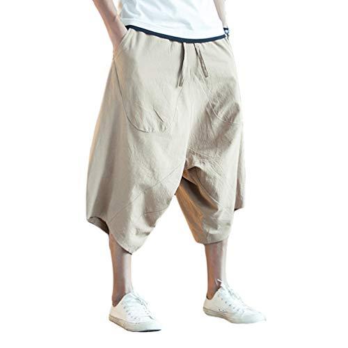 Sentaoa Homme Sarouel Pantalon Neuf-Minute Pantalon Large-Jambes Taille Haute Baggy Pantalons avec Grosse Poche Casual Pantalon de Radis Surdimensionné (comme Montré, Asia M)