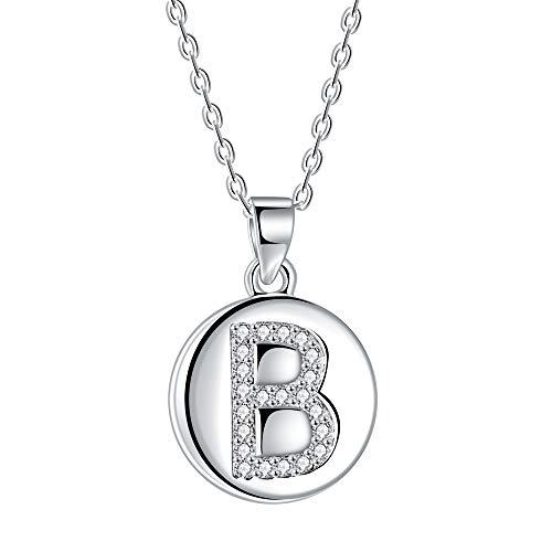 Collana da donna con lettera iniziale B, pendente a disco in argento 925 con zirconi cubici AAA, lunghezza catena 40 + 5 cm