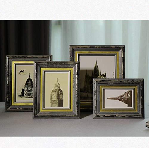 Retro fotolijst van massief hout verouderd, creatieve set met tafel voor woonkamer, decoratie om op te hangen A3