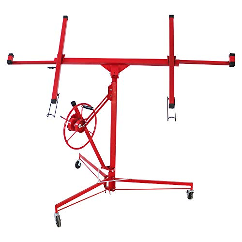 11' Drywall Lift Panel Hoist, Jack Lifter Jack Rolling Lockable Caster Wheel Drywall Lift Construction Tools (Red-Upgrade)