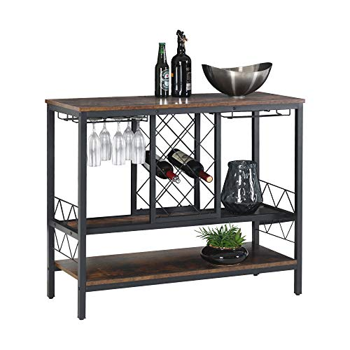 WAYTRIM Wine Rack Table with Glass Holder, Vintage Industrial Wine Bar Cabinet with Storage, Wine Storage Organizer Display Stand - Brown