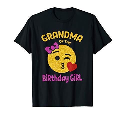 Grandma of the Birthday Girl Emoji Pink Shirt Kiss Heart Tee T-Shirt
