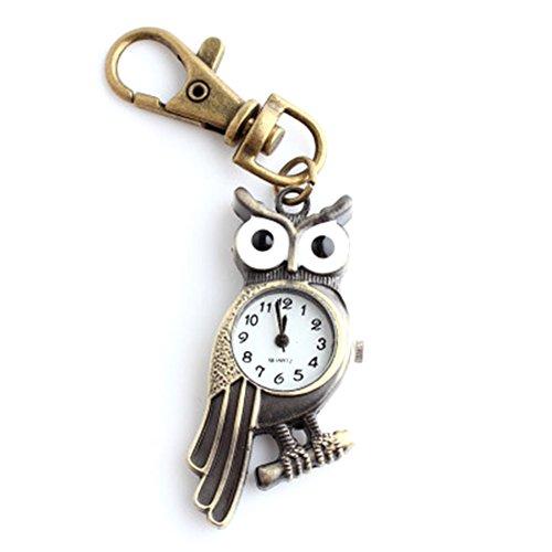 AIUIN - Orologio da tasca al quarzo, portachiavi a forma di gufo, con sacchetto per gioielli