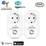Jinvoo (2 paquetes) Zócalo inteligente Wifi funciona con Alexa y Google Home Smart phone App Control para IOS y Android, No se requiere un concentrador de control remoto, Blanco