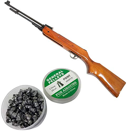 National Standard Products Break Barrel Air Rifle, 1200fps, Real Wood Stock, 100 Free Pellets (5.5)