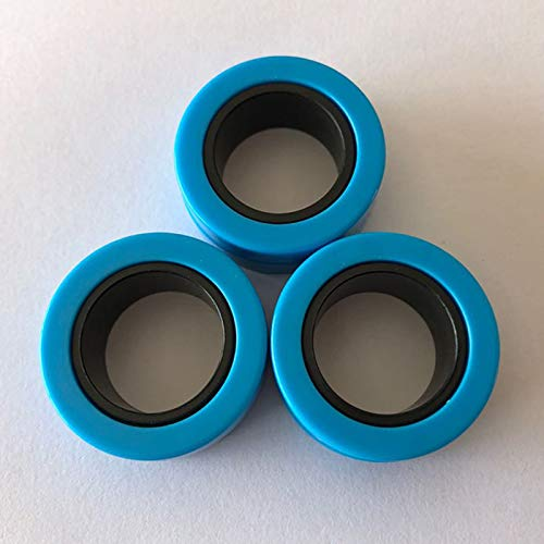 Magnetic Rings, Stress Relief Toys, Decompression Relief Autism, Anxiety, Stress Toys, Training Relieves Stress Reducer 6 Pcs Set(Blue outside and black inside)