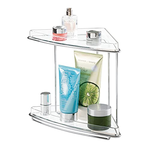 mDesign Metal 2-Tier Corner Storage Organizing Caddy Stand for Bathroom Vanity Countertops, Shelving or Under Sink - Free Standing, 2 Plastic Shelves - Clear/Chrome